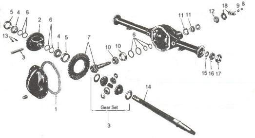 willys jeep parts diagrams illustrations from midwest jeep willys rear axle cj 1946 71 dana 41 44