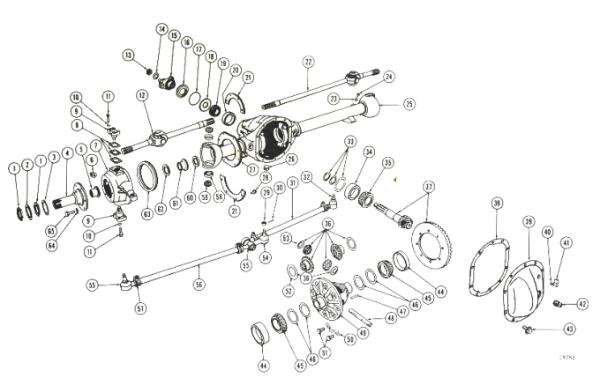 willys jeep parts diagrams illustrations from midwest jeep willys 1955 Jeep Models front axle dana 25 27